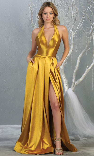 Mayqueen MQ 1741 long metallic gold halter evening flowy dress w/low back & high slit. Full length gold satin gown is perfect for enagagement/e-shoot dress,formal wedding guest, indowestern gown, evening party dress, prom, bridesmaid. Plus sizes avail.jpg