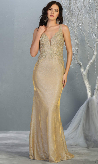 Mayqueen MQ 1744 long gold v neck beaded top evening fitted metallic dress w/low back. Full length gold gown is perfect for enagagement/e-shoot dress, wedding reception dress, indowestern gown, formal evening party dress, prom. Plus sizes avail.jpg