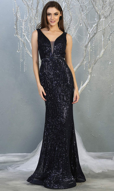 Mayqueen MQ 1745 long navy blue v neck top evening fitted sequin dress w/low back & wide straps. Full length gown is perfect for enagagement/e-shoot dress, wedding reception dress, indowestern gown, formal evening party dress, prom. Plus sizes avail.jpg