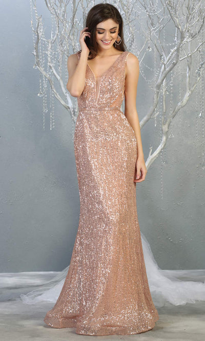 Mayqueen MQ 1745 long rose gold v neck top evening fitted sequin dress w/low back & wide straps. Full length gown is perfect for enagagement/e-shoot dress, wedding reception dress, indowestern gown, formal evening party dress, prom. Plus sizes avail.jpg