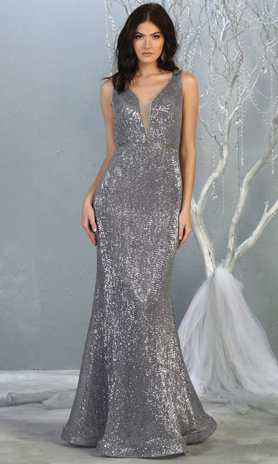 Mayqueen MQ 1745 long silver v neck top evening fitted sequin dress w/low back & wide straps. Full length grey gown is perfect for enagagement/e-shoot dress, wedding reception dress, indowestern gown, formal evening party dress, prom. Plus sizes avail.jpg