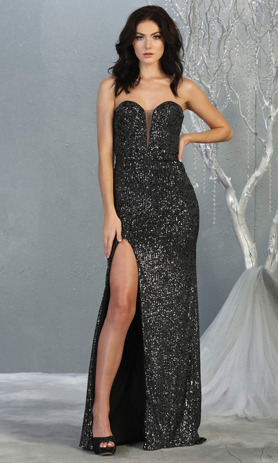Mayqueen MQ 1747 long charcoal gray sequin evening fitted dress w/high slit. Full length dark grey gown is perfect for enagagement/e-shoot dress, wedding reception dress, indowestern gown, formal evening party dress, prom. Plus sizes avail.jpg