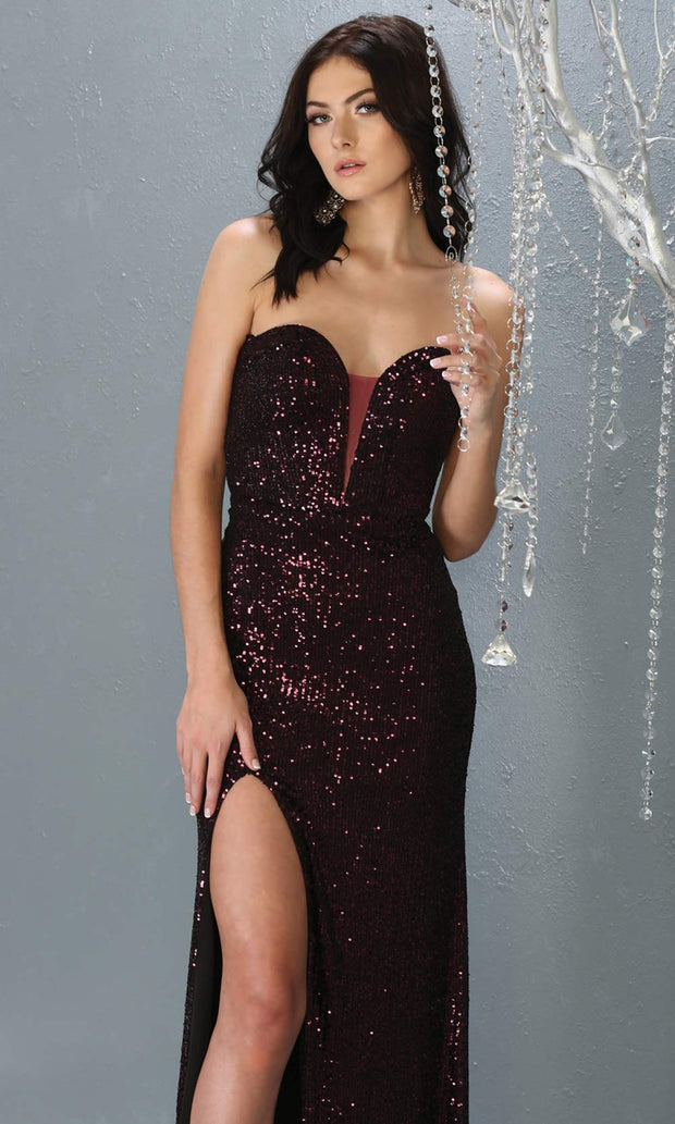 Mayqueen MQ 1747 long dark purple sequin evening fitted dress w/high slit. Full length eggplant gown is perfect for enagagement/e-shoot dress, wedding reception dress, indowestern gown, formal evening party dress, prom. Plus sizes avail.jpg