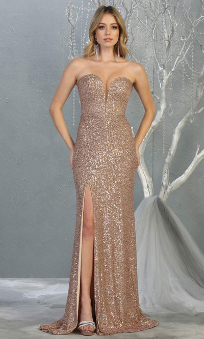 Mayqueen MQ 1747 long rose gold sequin evening fitted dress w/high slit. Full length rose gold gown is perfect for enagagement/e-shoot dress, wedding reception dress, indowestern gown, formal evening party dress, prom. Plus sizes avail.jpg