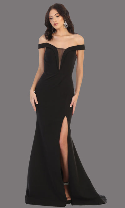 Mayqueen MQ1748 long black fitted sleek & sexy off shoulder dress w/ high slit. This black dress is perfect for bridesmaid dresses, simple wedding guest dress, prom dress, gala, black tie wedding. Plus sizes are available, evening party dress.jpg