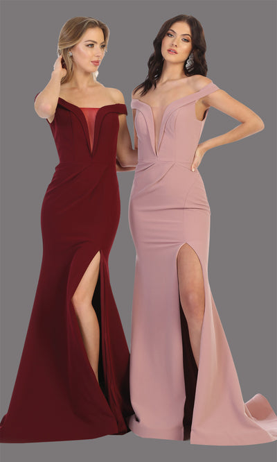 Mayqueen MQ1748 long burgund red fitted sleek & sexy off shoulder dress w/ high slit. This dark red dress is perfect for bridesmaid dresses, simple wedding guest dress, prom dress, gala, black tie wedding. Plus sizes are available, evening party dress.jpg