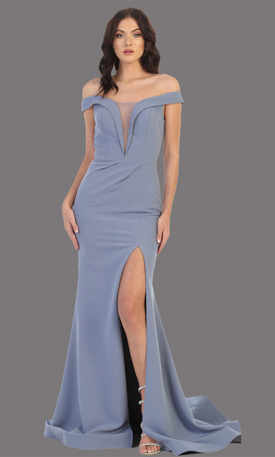 Mayqueen MQ1748 long dusty blue fitted sleek & sexy off shoulder dress w/ high slit. Light blue dress is perfect for bridesmaid dresses, simple wedding guest dress, prom dress, gala, black tie wedding. Plus sizes are available, evening party dress.jpg