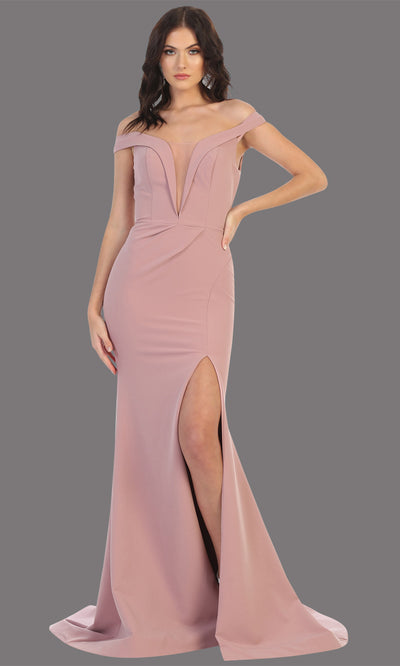Mayqueen MQ1748 long mauve fitted sleek & sexy off shoulder dress w/ high slit. This dusty rose dress is perfect for bridesmaid dresses, simple wedding guest dress, prom dress, gala, black tie wedding. Plus sizes are available, evening party dress.jpg