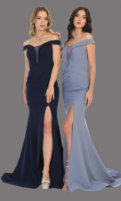Mayqueen MQ1748 long navy blue fitted sleek & sexy off shoulder dress w/ high slit. This dark blue dress is perfect for bridesmaid dresses, simple wedding guest dress, prom dress, gala, black tie wedding. Plus sizes are available, evening party dress.jpg
