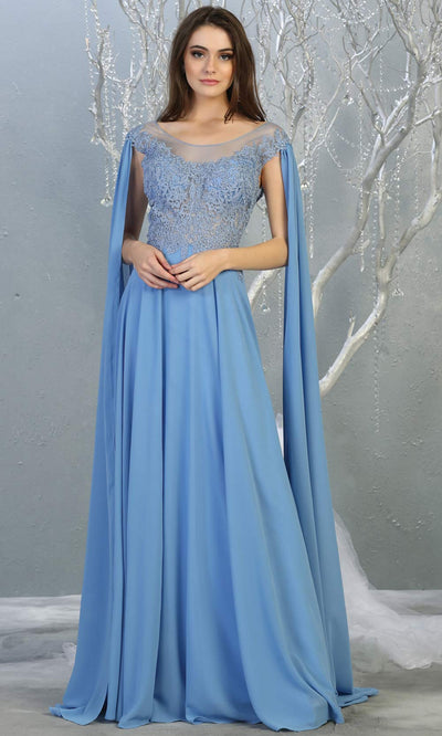 Mayqueen MQ1749 long dusty blue flowy dress w/ long sleeves & low back. This light blue gown is perfect as modest bridesmaid dresses, muslim evening party dress, indowestern gown, formal wedding guest dress, a-line evening party dress.Plus sizes avail.jpg