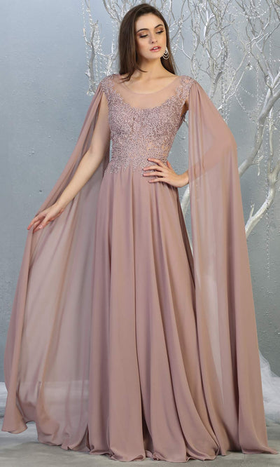 Mayqueen MQ1749 long mauve pink flowy dress w/ long sleeves & low back. This dusty rose gown is perfect as modest bridesmaid dresses, muslim evening party dress, indowestern gown, formal wedding guest dress, a-line evening party dress.Plus sizes avail.jpg