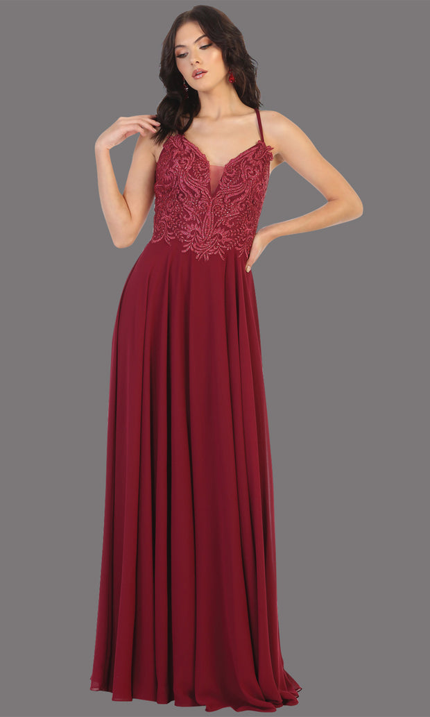 Mayqueen MQ1750 long burgundy flowy sleek & sexy dress w/straps. This dark red dress is perfect for bridesmaid dresses, simple wedding guest dress, prom dress, gala, black tie wedding. Plus sizes are available, evening party dress.jpg