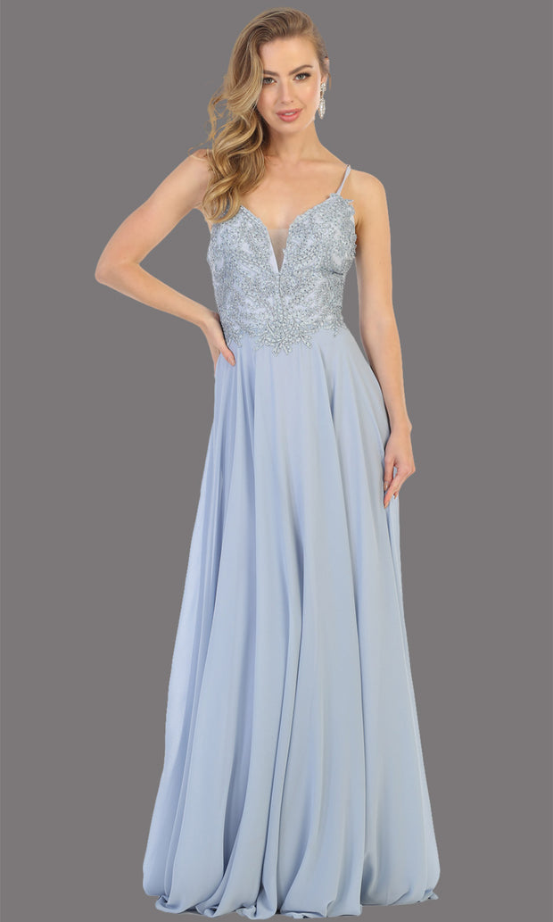 Mayqueen MQ1750 long dusty blue flowy sleek & sexy dress w/straps. This dusty blue dress is perfect for bridesmaid dresses, simple wedding guest dress, prom dress, gala, black tie wedding. Plus sizes are available, evening party dress.jpg