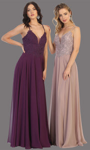 Mayqueen MQ1750 long eggplant flowy sleek & sexy dress w/straps. This dark purple dress is perfect for bridesmaid dresses, simple wedding guest dress, prom dress, gala, black tie wedding. Plus sizes are available, evening party dress.jpg