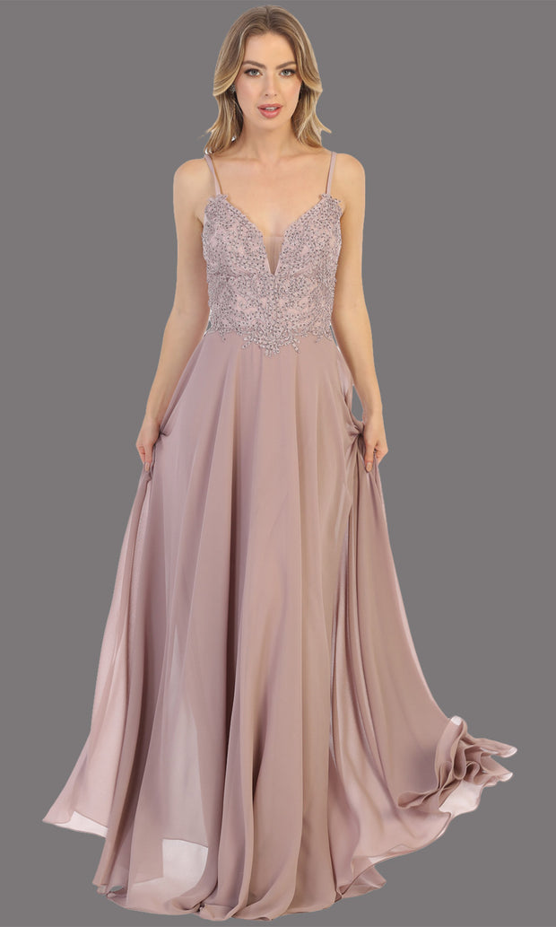 Mayqueen MQ1750 long mauv flowy sleek & sexy dress w/straps. This dusty rose dress is perfect for bridesmaid dresses, simple wedding guest dress, prom dress, gala, black tie wedding. Plus sizes are available, evening party dress.jpg