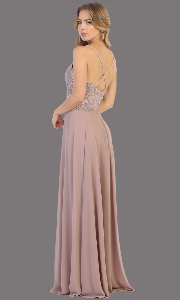 Mayqueen MQ1750 long mauv flowy sleek & sexy dress w/straps. This dusty rose dress is perfect for bridesmaid dresses, simple wedding guest dress, prom dress, gala, black tie wedding. Plus sizes are available, evening party dress-b.jpg