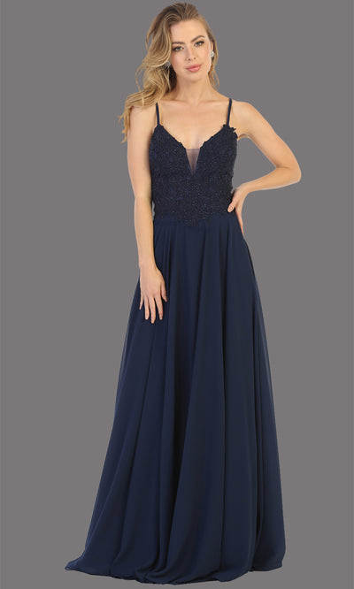 Mayqueen MQ1750 long navy flowy sleek & sexy dress w/straps. This dark blue dress is perfect for bridesmaid dresses, simple wedding guest dress, prom dress, gala, black tie wedding. Plus sizes are available, evening party dress.jpg