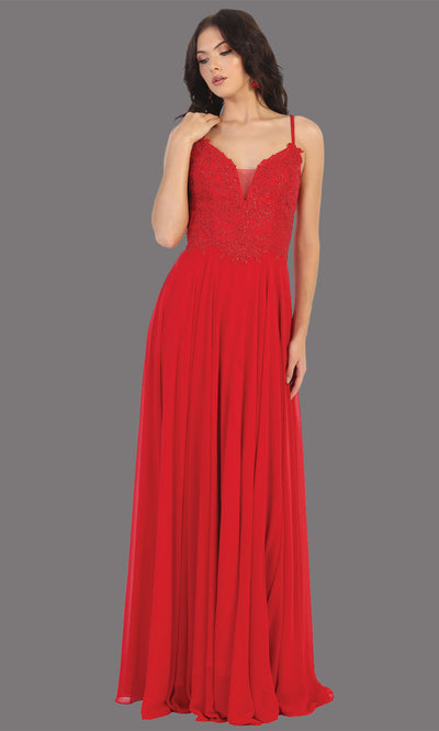 Mayqueen MQ1750 long red flowy sleek & sexy dress w/straps. This red dress is perfect for bridesmaid dresses, simple wedding guest dress, prom dress, gala, black tie wedding. Plus sizes are available, evening party dress.jpg