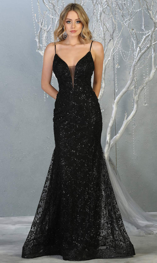 Mayqueen MQ1752 long black sequin evening fitted mermaid dress w/low back. Full length black gown is perfect for enagagement/e-shoot dress, wedding reception dress, indowestern gown, formal evening party dress, prom. Plus sizes avail.jpg