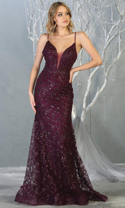 Mayqueen MQ1752 long dark purple sequin evening fitted mermaid dress w/low back. Full length eggplant gown is perfect for enagagement/e-shoot dress, wedding reception dress, indowestern gown, formal evening party dress, prom. Plus sizes avail.jpg