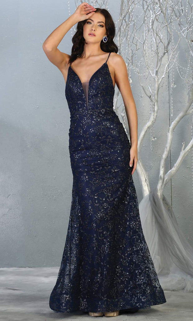 Mayqueen MQ1752 long navy blue sequin evening fitted mermaid dress w/low back. Full length dark blue gown is perfect for enagagement/e-shoot dress, wedding reception dress, indowestern gown, formal evening party dress, prom. Plus sizes avail.jpg