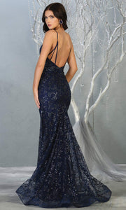 Mayqueen MQ1752 long navy blue sequin evening fitted mermaid dress w/low back. Full length dark blue gown is perfect for enagagement/e-shoot dress, wedding reception dress, indowestern gown, formal evening party dress, prom. Plus sizes avail-b.jpg