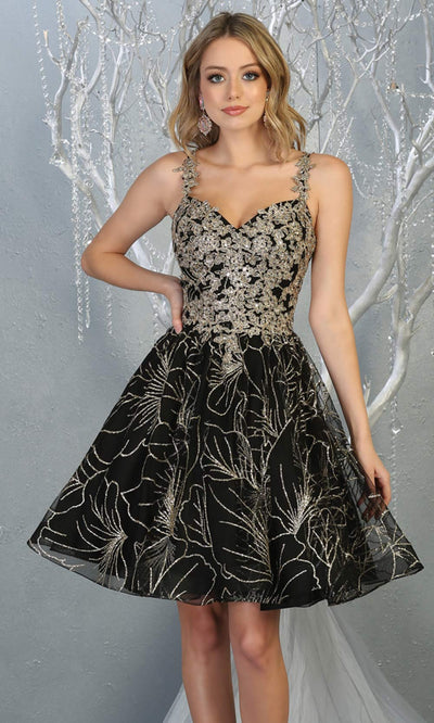 Mayqueen MQ1753 short black gold flowy v neck glittery sequin grade 8 graduation dress w/ straps. This black party dress is perfect for prom, graduation, grade 8 grad, confirmation dress, bat mitzvah dress, damas.Plus sizes avail for grad dress.jpg