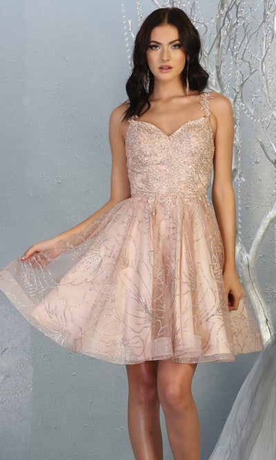 Mayqueen MQ1753 short rose gold flowy v neck glittery sequin grade 8 graduation dress w/ straps. This rose gold party dress is perfect for prom, graduation, grade 8 grad, confirmation dress, bat mitzvah dress, damas.Plus sizes avail for grad dress.jpg