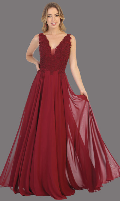 Mayqueen MQ1754 long burgundy red flowy sleek & sexy dress w/straps. This dark red dress is perfect for bridesmaid dresses, simple wedding guest dress, prom dress, gala, black tie wedding. Plus sizes are available, evening party dress.jpg