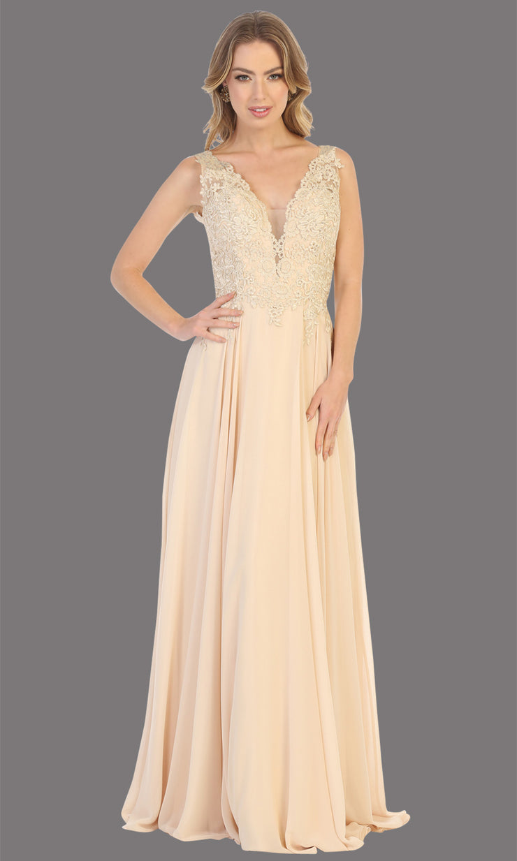 Mayqueen MQ1754 long champagne gold flowy sleek & sexy dress w/straps. This light gold dress is perfect for bridesmaid dresses, simple wedding guest dress, prom dress, gala, black tie wedding. Plus sizes are available, evening party dress.jpg