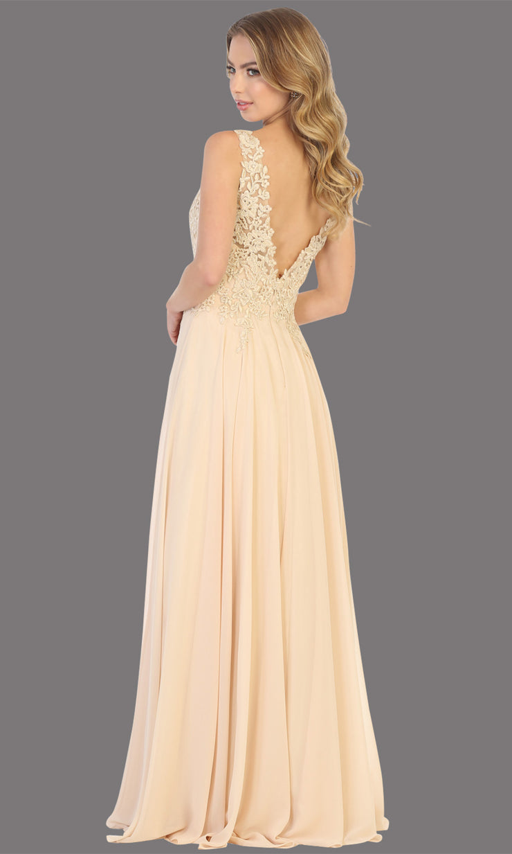 Mayqueen MQ1754 long champagne gold flowy sleek & sexy dress w/straps. This light gold dress is perfect for bridesmaid dresses, simple wedding guest dress, prom dress, gala, black tie wedding. Plus sizes are available, evening party dress-b.jpg