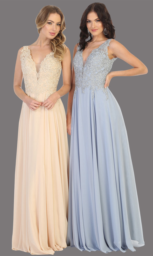 Mayqueen MQ1754 long dusty blue flowy sleek & sexy dress w/straps. This dusty blue dress is perfect for bridesmaid dresses, simple wedding guest dress, prom dress, gala, black tie wedding. Plus sizes are available, evening party dress.jpg