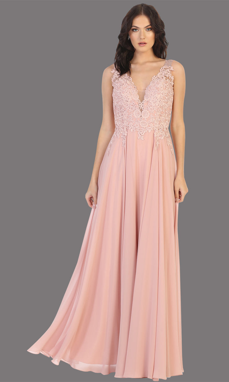 Mayqueen MQ1754 long dusty rose gold flowy sleek & sexy dress w/straps. This dusty rose dress is perfect for bridesmaid dresses, simple wedding guest dress, prom dress, gala, black tie wedding. Plus sizes are available, evening party dress.jpg