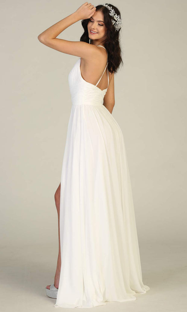 Mayqueen MQ1755-long ivory simple bridal dress w/ v neck, flowy skirt, high slit. White formal dress is perfect for wedding bridal dress,white prom dress,simple wedding,second wedding, destination wedding dress, second wedding dress.Plus sizes avail-b.jpg