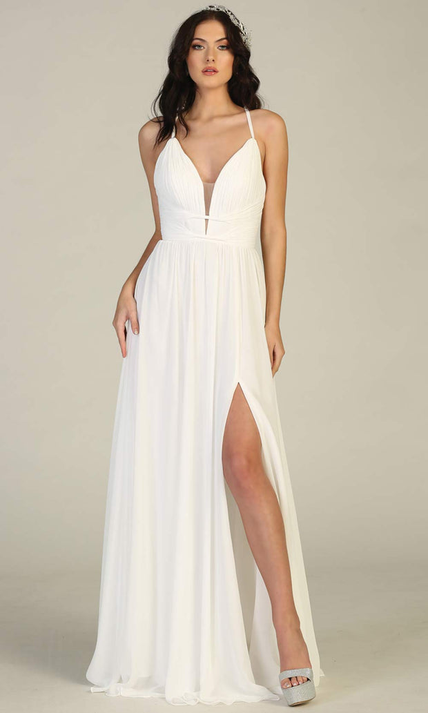 Mayqueen MQ1755-long ivory simple bridal dress w/ v neck, flowy skirt, high slit. White formal dress is perfect for wedding bridal dress, white prom dress, simple wedding,second wedding, destination wedding dress, second wedding dress.Plus sizes avail.jpg