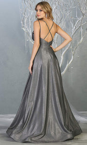 Mayqueen MQ1756 long charcoal gray metallic evening flowy dress w/low back & straps. Full length silver grey gown is perfect for enagagement/e-shoot dress, wedding reception dress, indowestern gown, formal evening party dress, prom. Plus sizes avail-b.jpg