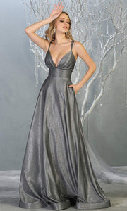 Mayqueen MQ1756 long charcoal gray metallic evening flowy dress w/low back & straps. Full length silver grey gown is perfect for enagagement/e-shoot dress, wedding reception dress, indowestern gown, formal evening party dress, prom. Plus sizes avail.jpg