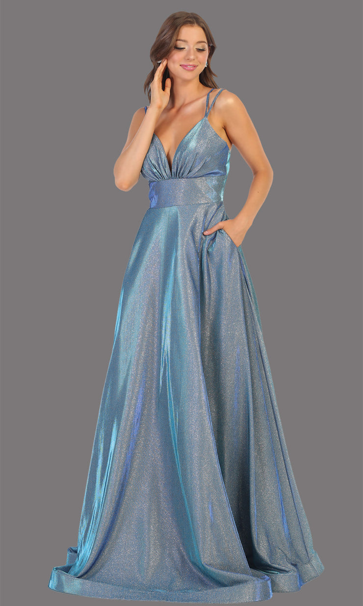 Mayqueen MQ1756 long dusty blue metallic evening flowy dress w/low back & straps. Full length dusty blue gown is perfect for enagagement/e-shoot dress, wedding reception dress, indowestern gown, formal evening party dress, prom. Plus sizes avail