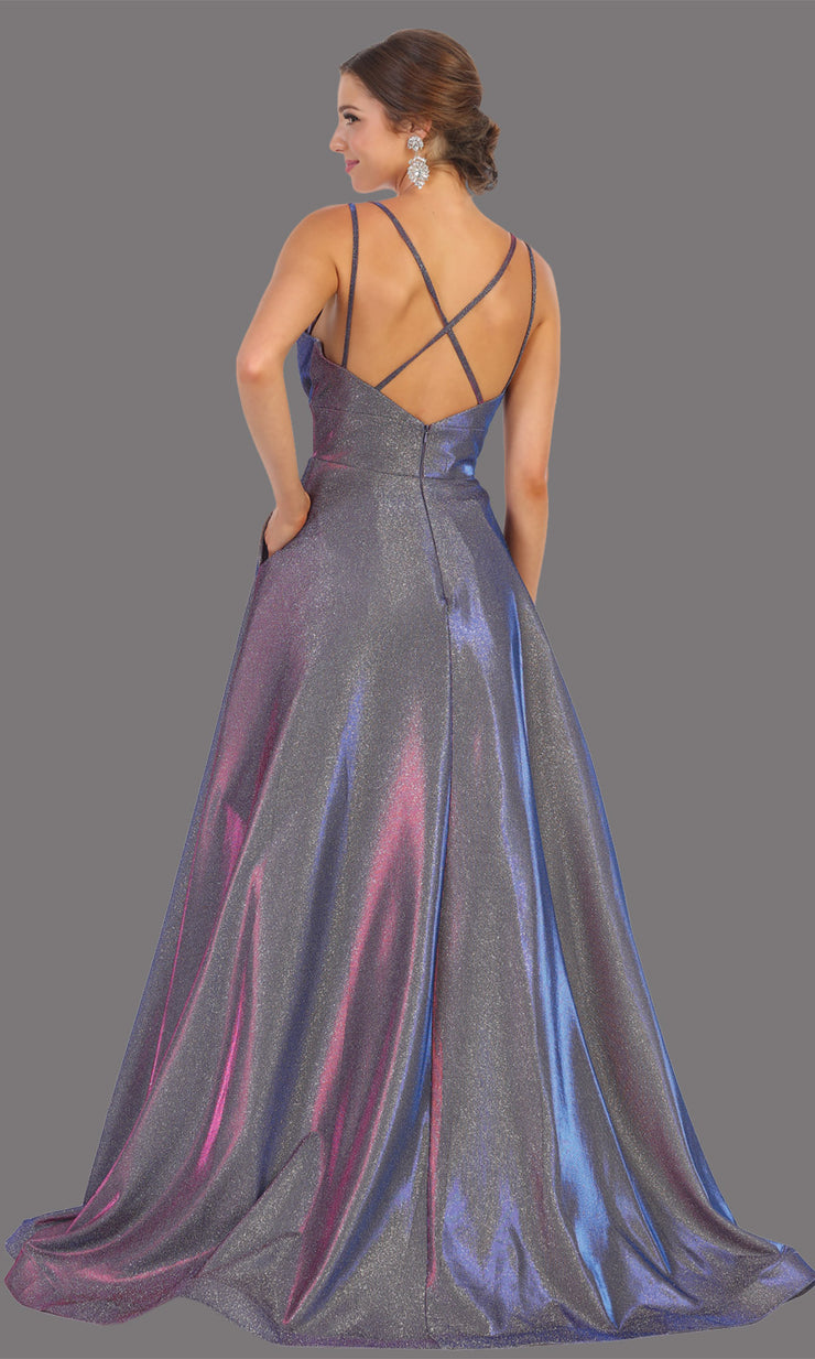 Mayqueen MQ1756 long purple metallic evening flowy dress w/low back & straps. Full length purple gown is perfect for enagagement/e-shoot dress, wedding reception dress, indowestern gown, formal evening party dress, prom. Plus sizes avail-b
