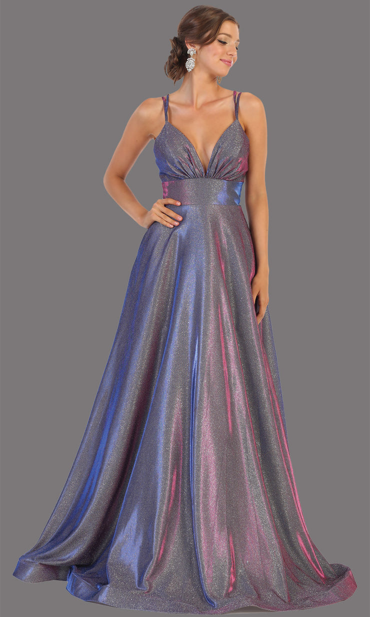 Mayqueen MQ1756 long purple metallic evening flowy dress w/low back & straps. Full length purple gown is perfect for enagagement/e-shoot dress, wedding reception dress, indowestern gown, formal evening party dress, prom. Plus sizes avail