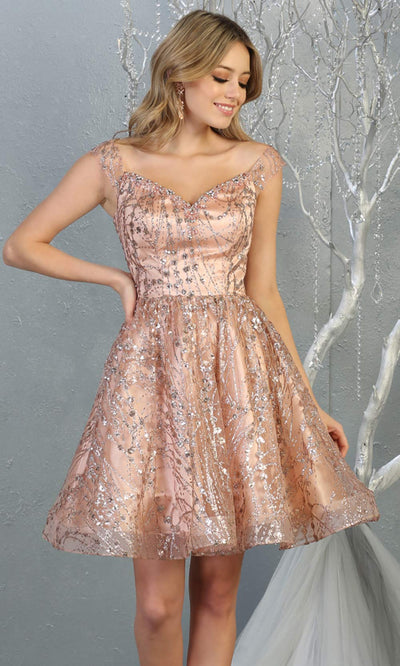 Mayqueen MQ1757 short rose gold flowy off shoulder glittery sequin grade 8 graduation dress. This rose gold party dress is perfect for prom, graduation, grade 8 grad, confirmation dress, bat mitzvah dress, damas. Plus sizes avail for rose grad dress.jpg