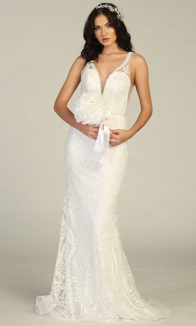 Mayqueen MQ1758-long ivory lace simple fitted bridal dress w/ v neck, low back. White formal dress is perfect for wedding bridal dress, white prom dress, simple wedding,second wedding, destination wedding dress, second wedding dress.Plus sizes avail.jpg