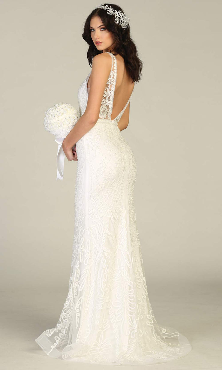 Mayqueen MQ1758-long ivory lace simple fitted bridal dress w/ v neck, low back. White formal dress is perfect for wedding bridal dress, white prom dress, simple wedding,second wedding, destination wedding dress, second wedding dress.Plus sizes avail-b.jpg
