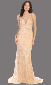 Mayqueen MQ1758 long champagne lace evening fitted dress w/low back & wide straps. Full length champagne gown is perfect for enagagement/e-shoot dress, wedding reception dress, indowestern gown, formal evening party dress, prom. Plus sizes avail