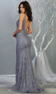 Mayqueen MQ1758 long dusty blue lace evening fitted dress w/low back & wide straps. Full length blue grey gown is perfect for enagagement/e-shoot dress, wedding reception dress, indowestern gown, formal evening party dress, prom. Plus sizes avail-b.jpg