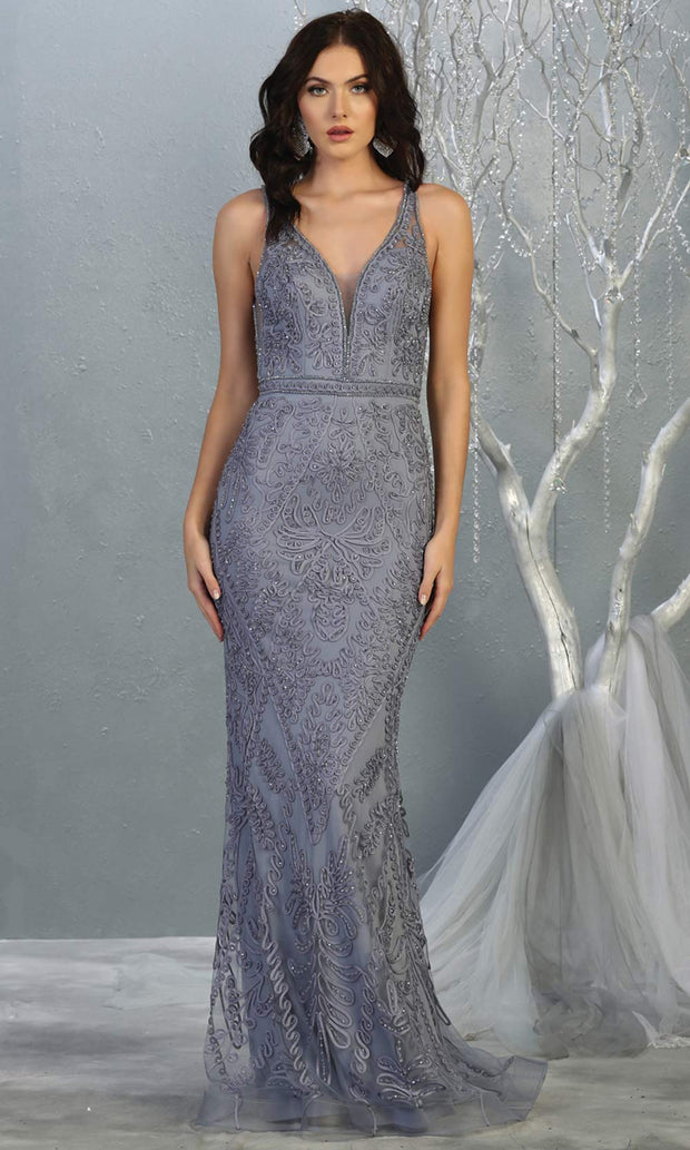 Mayqueen MQ1758 long dusty blue lace evening fitted dress w/low back & wide straps. Full length blue grey gown is perfect for enagagement/e-shoot dress, wedding reception dress, indowestern gown, formal evening party dress, prom. Plus sizes avail.jpg