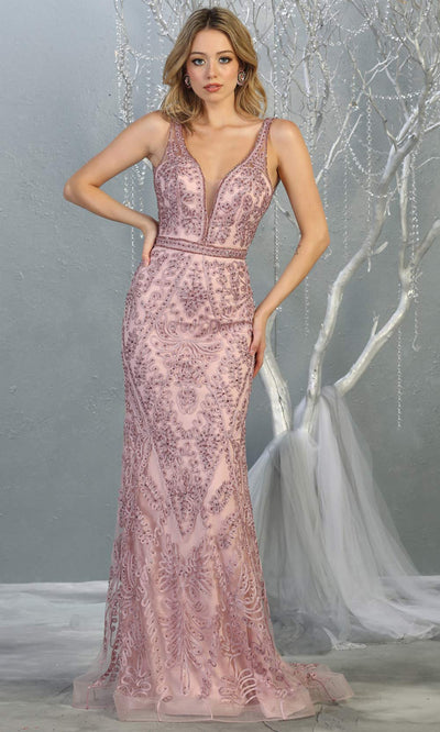 Mayqueen MQ1758 long mauve pink lace evening fitted dress w/low back & wide straps. Full length light pink gown is perfect for enagagement/e-shoot dress, wedding reception dress, indowestern gown, formal evening party dress, prom. Plus sizes avail.jpg