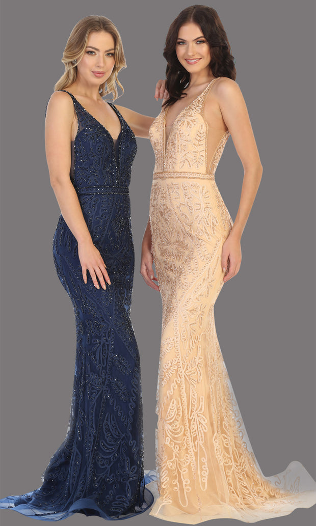 Mayqueen MQ1758 long navy blue lace evening fitted dress w/low back & wide straps. Full length dark blue gown is perfect for enagagement/e-shoot dress, wedding reception dress, indowestern gown, formal evening party dress, prom. Plus sizes avail