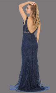 Mayqueen MQ1758 long navy blue lace evening fitted dress w/low back & wide straps. Full length dark blue gown is perfect for enagagement/e-shoot dress, wedding reception dress, indowestern gown, formal evening party dress, prom. Plus sizes avail-b