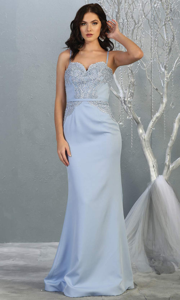 Mayqueen MQ1759 long dusty blue lace top evening fitted dress w/straps. Full length blue grey gown is perfect for bridesmaids, enagagement/e-shoot dress, wedding guest dress, indowestern gown, formal evening party dress, prom. Plus sizes avail.jpg